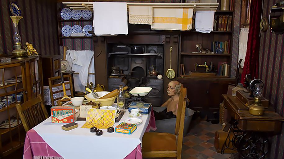 exhibit of kitchen/living/bathroom