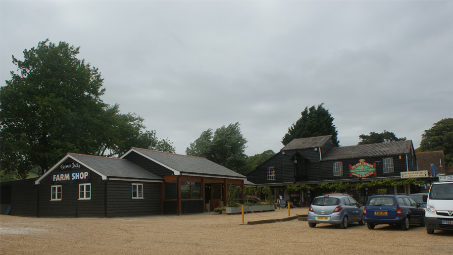 farm barn and car park