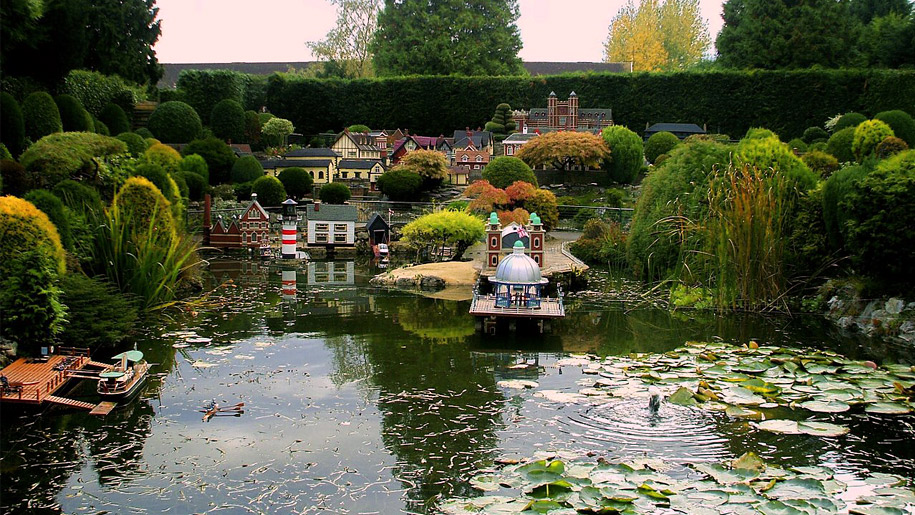 miniature village on pond