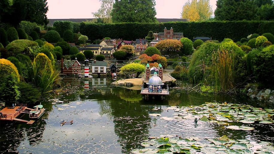 miniature village on pond