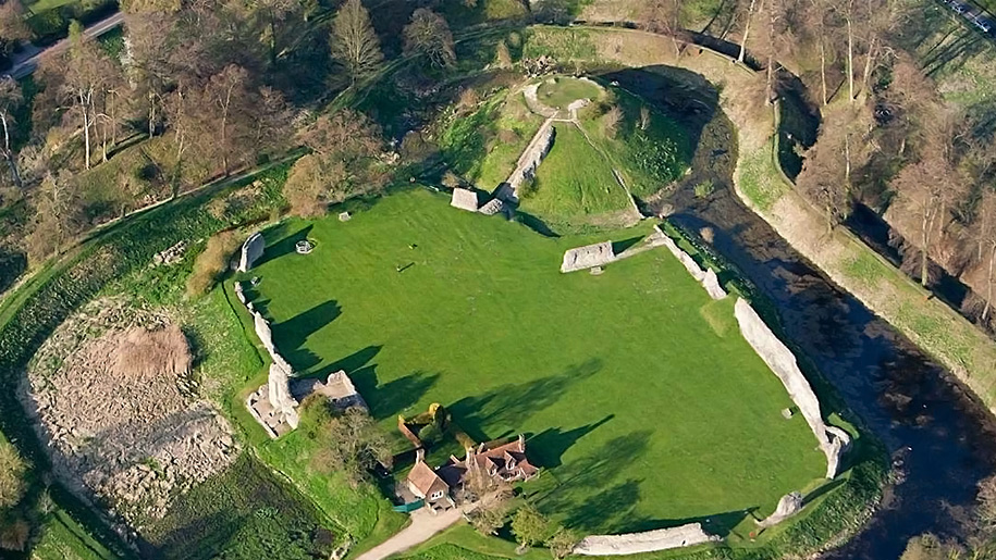 aerial view of ruins of castle