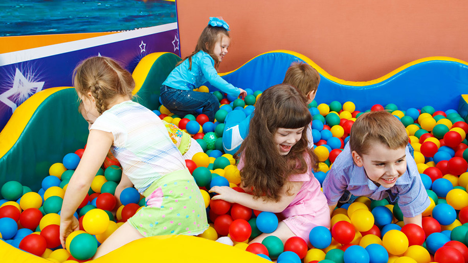 children in ball pool