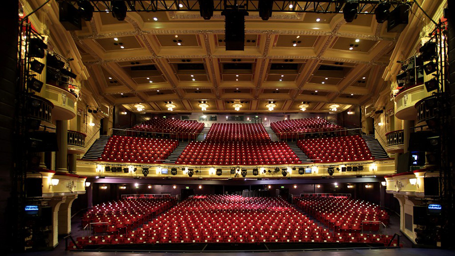view of seating area from proscenium arch