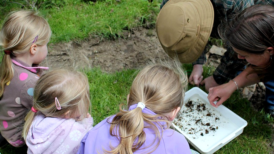 children inspecting soil