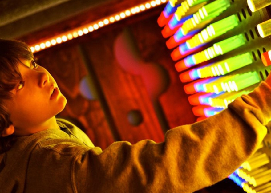 boy and coloured lights