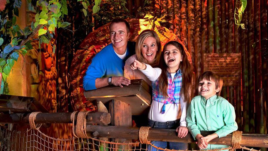 family inside museum