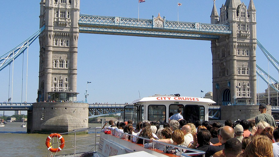 City Cruises London Boat going under bridge