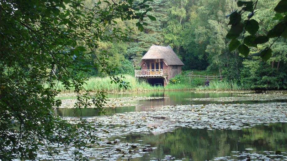 hut on lake