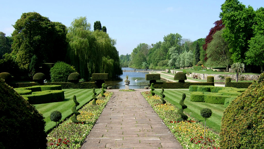 path through formal gardens