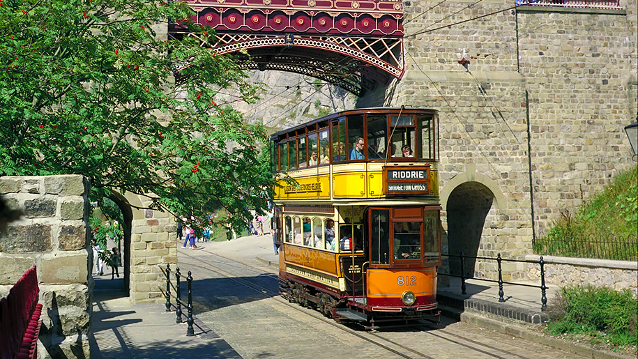 Crich Tramway Village tram under bridge
