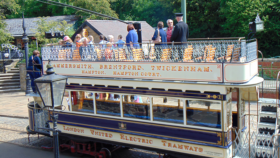 Crich Tramway Village family on tram