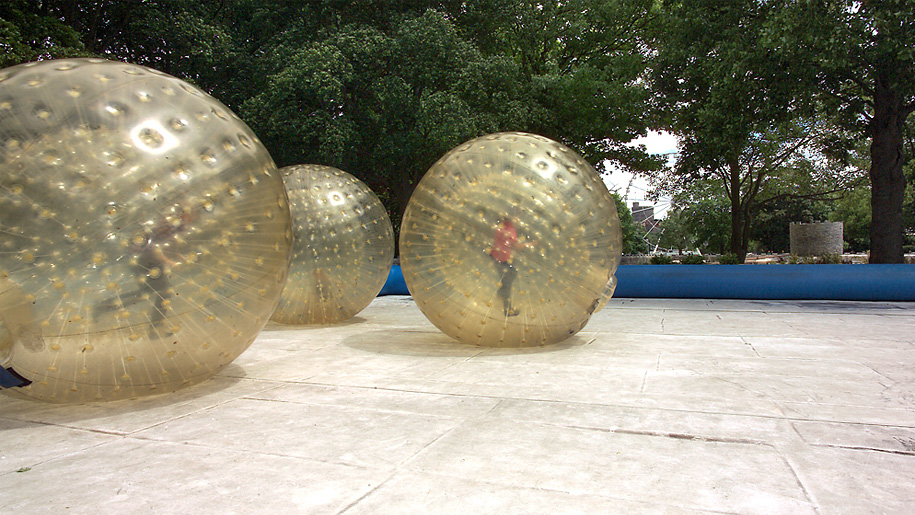 child in amster ball