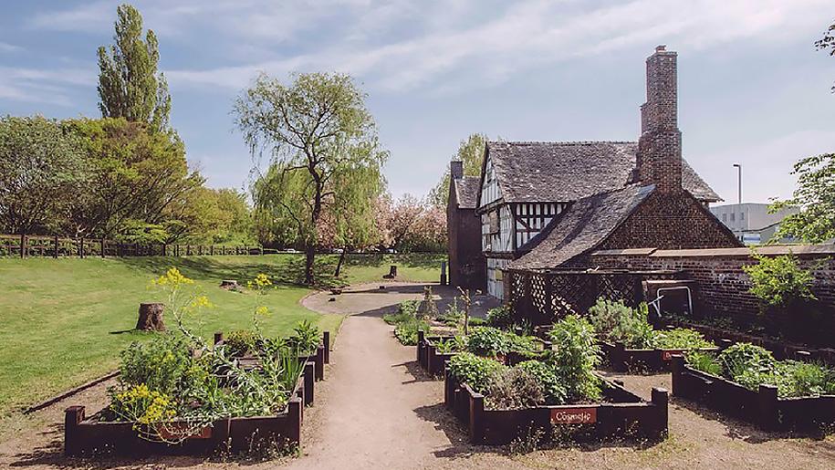 gardens and tudor style house