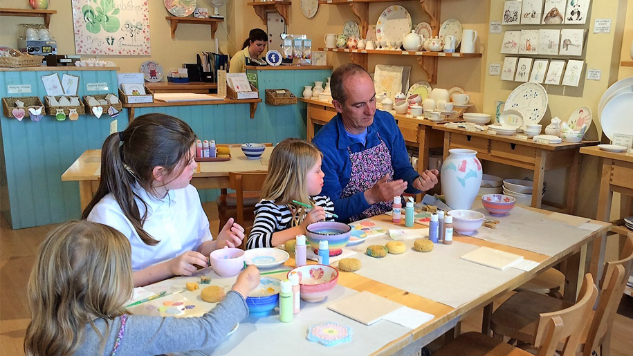 children learning to paint ceramics