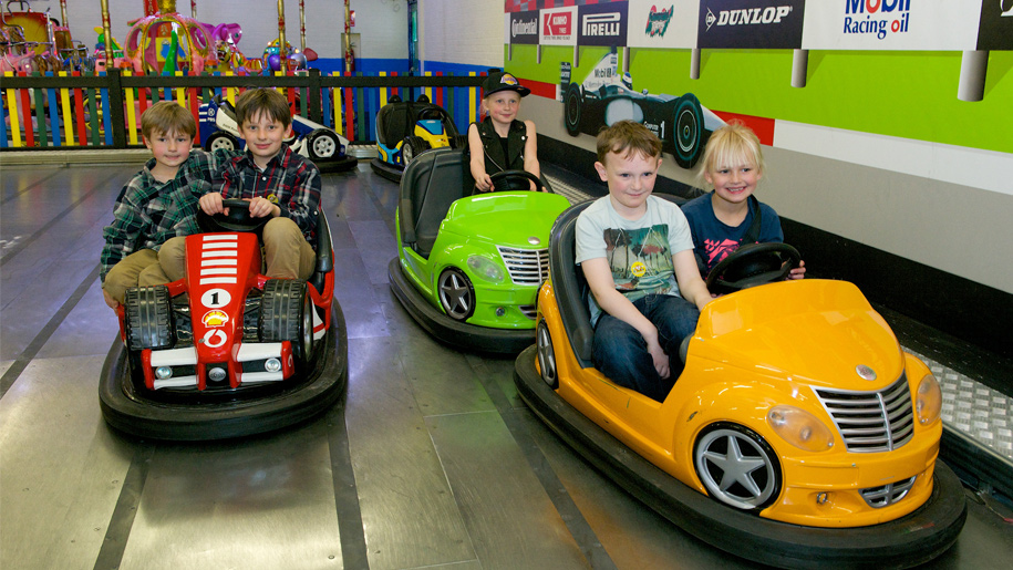 children in bumper cars
