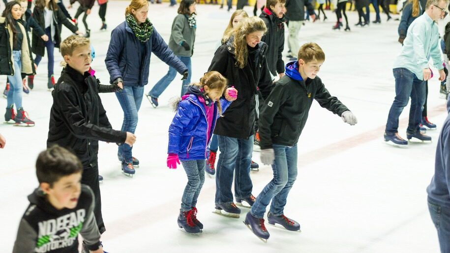 Skaters on ice rink at Guildford Spectrum