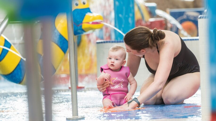 Baby in leisure pool at Guildford Spectrum