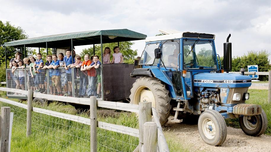 children on tractor ride