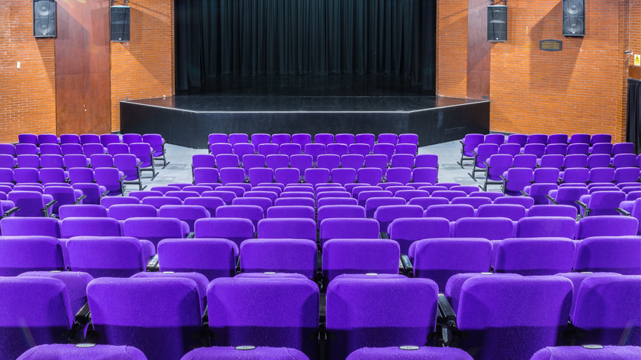 purple seats facing the stage