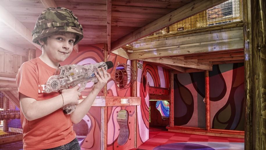 boy with lazer gun