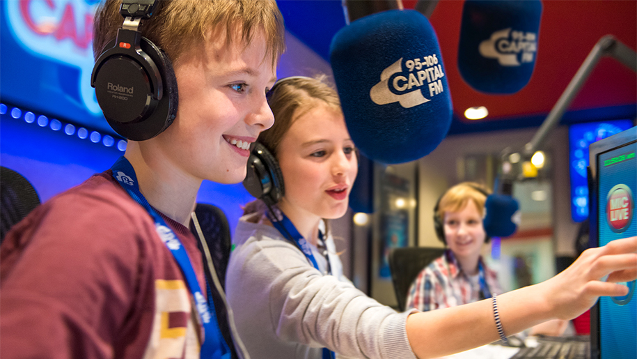 children on radio station