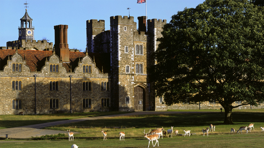 deer grazing in front of knole house