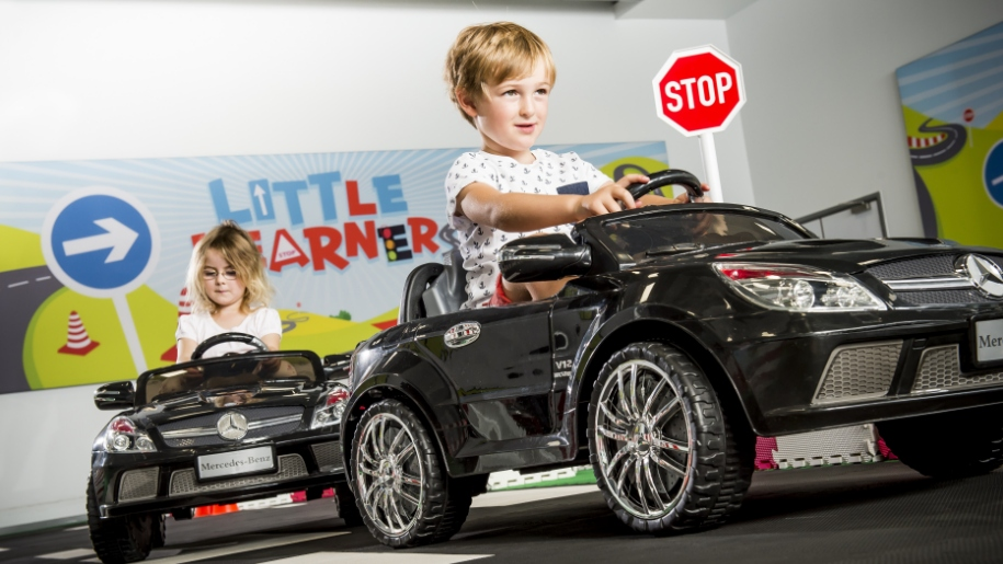 Mercedes Benz World young kids driving