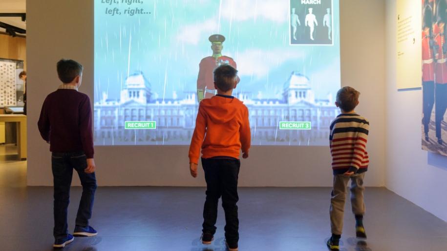 children doing marching interactive