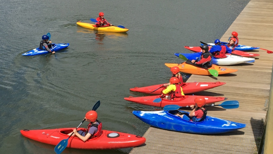 kids in kayaks