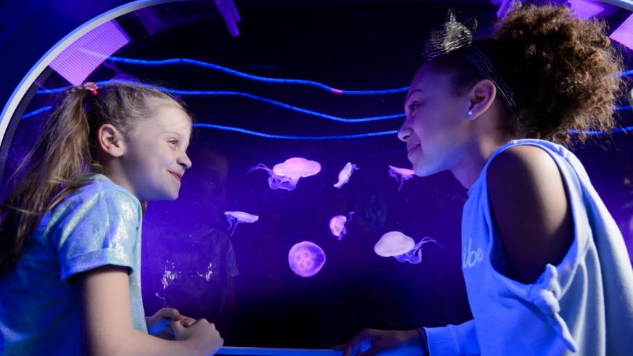 two girls looking at pink jellyfish