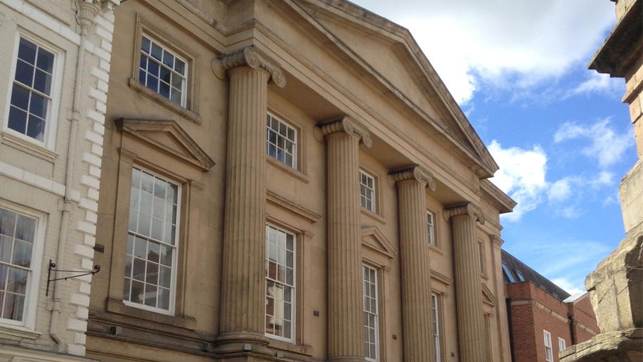 pillars in front of museum