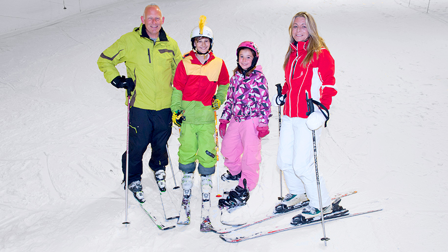 family on skis