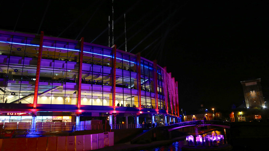 exterior of arena at night