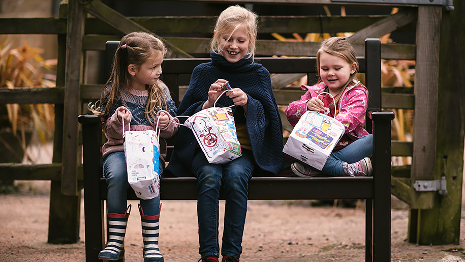 The Donkey Sanctuary children with gift bags