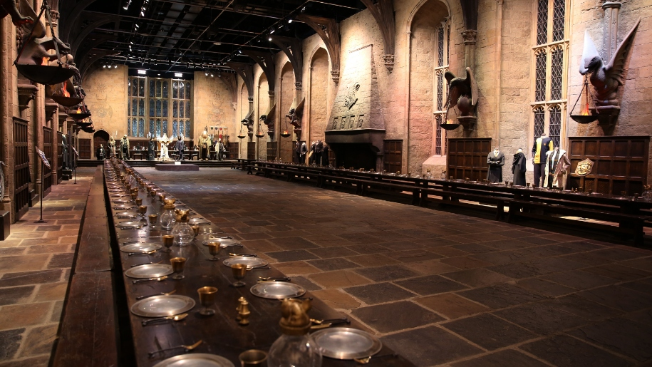 inside the great hall at WB studio tours