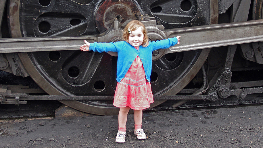 Mid Hants Railway Watercress Line child outside train