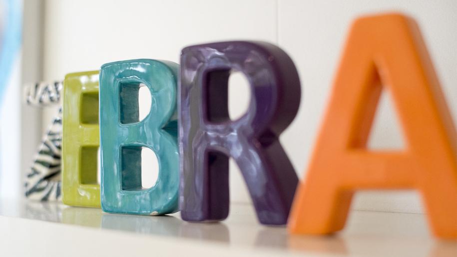 ceramic letters, zebra