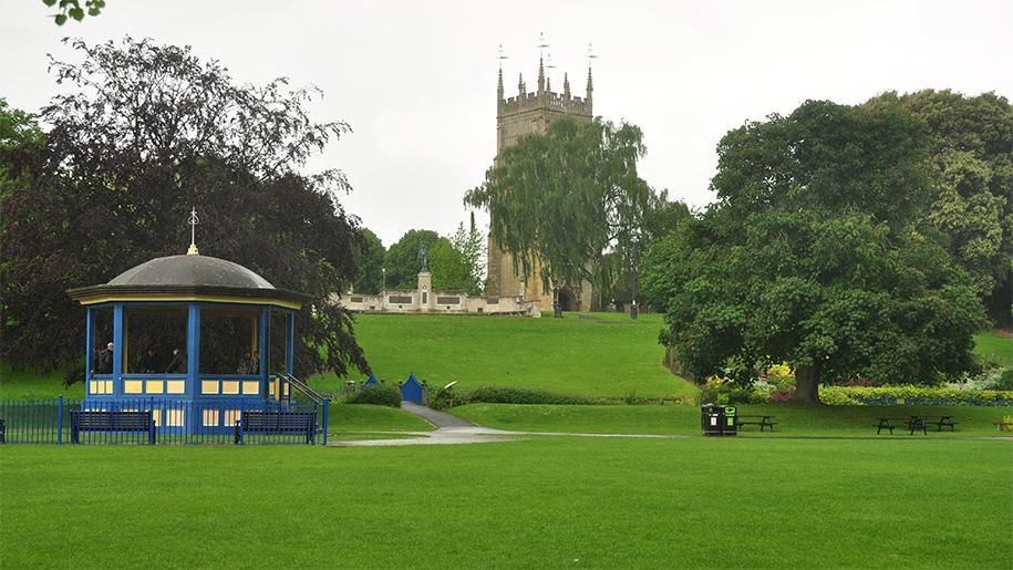 view of bandstand and church