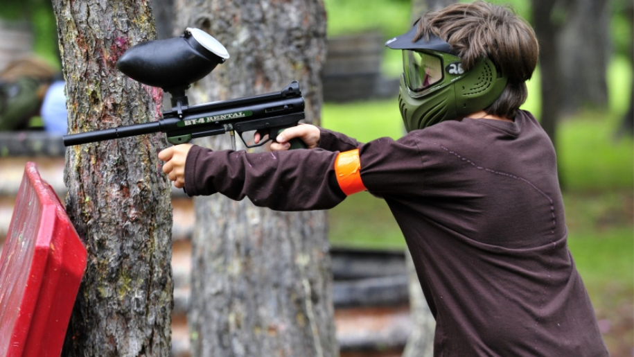 child paintballing