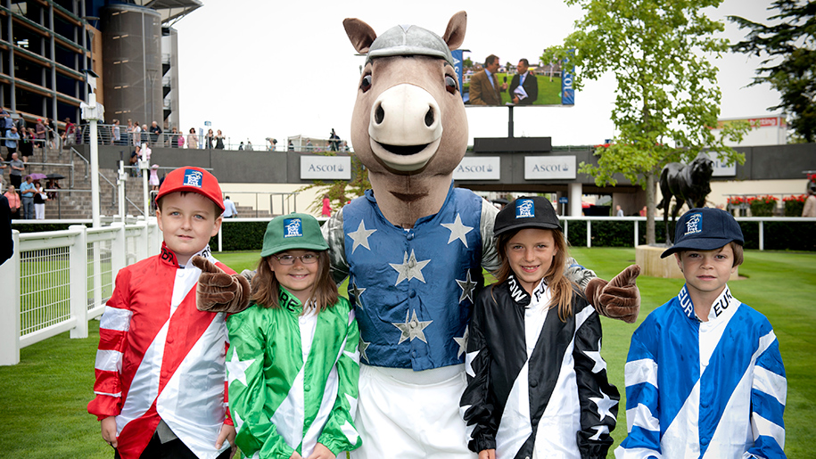 Ascot Racecourse mascot with kids