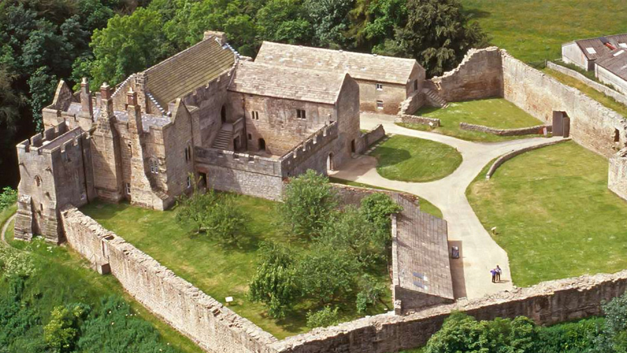 aerial view of aydon castle