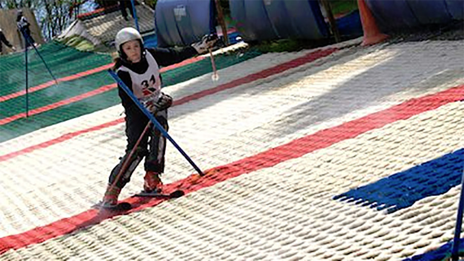 girl on dry ski slope