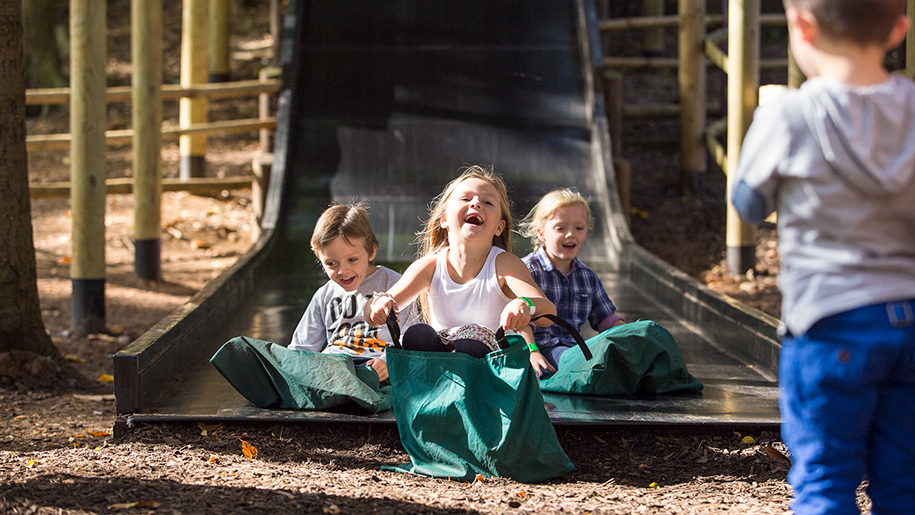 laughing children on slide