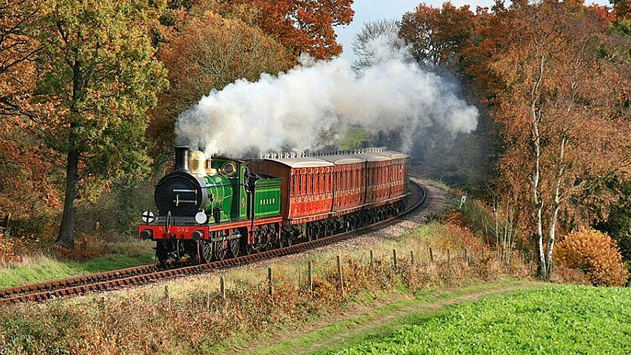 The Bluebell Railway train in the countryside