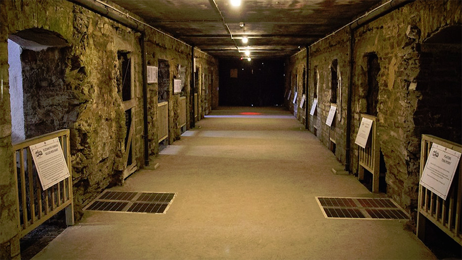 view down the jail cells