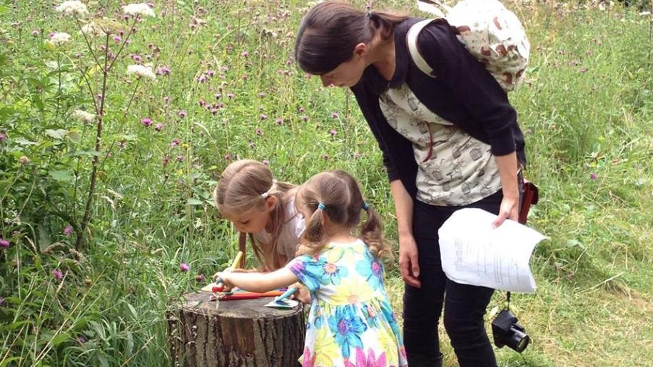 girls doing nature activity