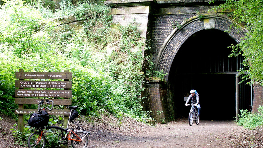 cycling through tunnel