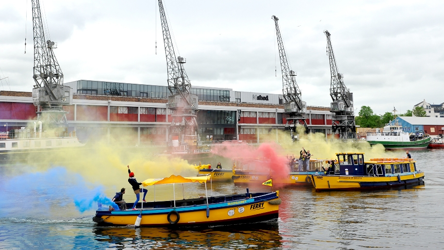 colourful ferry boats