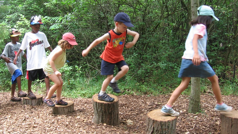 kids playing in forest