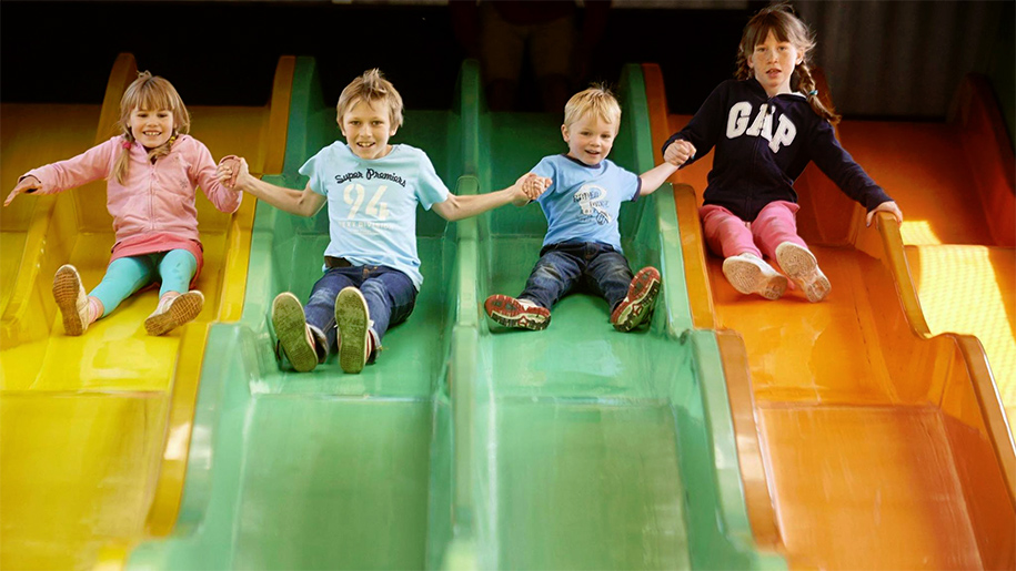 children on slides
